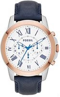 Fossil Twotone Chronograph Watch with Leather Strap - Lyst