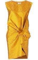 Lanvin Gathered Jacquard Dress - Lyst