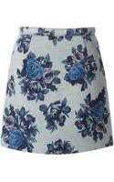MSGM Rose Print Skirt - Lyst