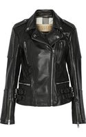 Burberry Brit Leather Biker Jacket - Lyst