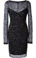 Monique Lhuillier Embroidered Long Sleeve Sheath Dress - Lyst