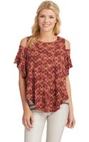 Free People Cold Shoulder Print Top - Lyst