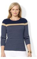 Lauren by Ralph Lauren Plus Size Striped Buttonshoulder Top - Lyst