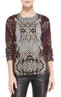 Zadig & Voltaire Python-print Cashmere Knit Sweater Prune Small - Lyst