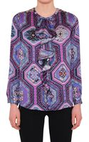 Emilio Pucci Silk Printed Blouse with Frills - Lyst