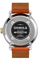 Shinola The Runwell Yellow Gold Watch with Orange Leather Strap 41mm - Lyst