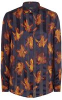 Paul Smith Black Label Iris Print Silk Shirt - Lyst