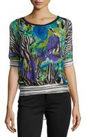 Alberto Makali Mixed-print Scoop-neck Blouse - Lyst
