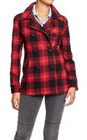 Old Navy Plaid Pea Coats - Lyst
