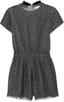 RED Valentino Sequined Point Desprit and Stretchjersey Playsuit - Lyst