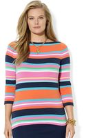 Lauren by Ralph Lauren Plus Three Quarter Sleeved Striped Top - Lyst