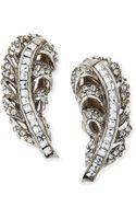 Oscar de la Renta Pave Crystal Feather Clip-on Earrings - Lyst