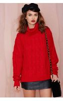 Nasty Gal Celia Cable Sweater - Lyst