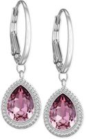 Swarovski Rhodiumplated Pink Crystal Drop Earrings - Lyst