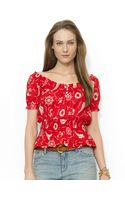 Lauren by Ralph Lauren Smocked Cotton Top - Lyst