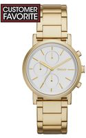 DKNY Womens Chronograph Soho Gold Ion-plated Stainless Steel Bracelet Watch 38mm - Lyst