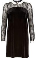 River Island Black Lslv Velvet Collar Shift Dress - Lyst