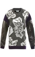Kenzo Foiled Wool-blend and Faux-leather Sweater - Lyst