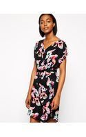 Selected Printed Silk Dress with Cowl Neck - Lyst
