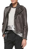 Brunello Cucinelli Reversible Leatherfur Bomber Jacket - Lyst