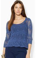 Lauren by Ralph Lauren Pointelle-knit Scoopneck Top - Lyst