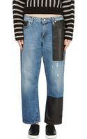 McQ by Alexander McQueen Blue Leather Patched Boyfriend Jeans - Lyst