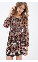Forever 21 Leaf Print Chiffon Dress - Lyst