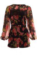 Ax Paris Floral Lace Front Chiffon Playsuit - Lyst