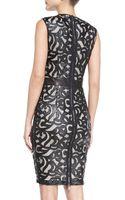 Lapina By David Helwani Sleeveless Lasercut Leather Dress - Lyst