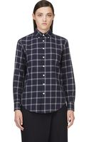 Band Of Outsiders Indigo Mlange Plaid Flannel Boyfriend Shirt - Lyst
