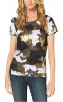 Michael Kors Camouflageprint Sequined Top - Lyst
