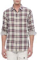 Rag & Bone Plaid Beach Shirt Navywhite - Lyst