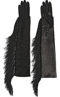 Lanvin Fran Fringed Jersey and Leather Gloves - Lyst