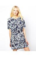 American Vintage Printed Dress with Short Sleeves - Lyst