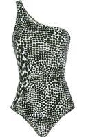 Stella McCartney Asymmetric Printed Swimsuit - Lyst
