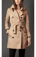 Burberry Cotton Gabardine Trench Coat with Leather Trim - Lyst