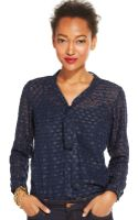 Tommy Hilfiger Tie-front Sheer Blouse - Lyst