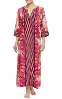 Oscar de la Renta Arabian Sunset Mix-print Zip Caftan - Lyst