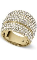 Michael Kors Goldtone Crystal Pave Dome Ring - Lyst