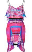 Peter Pilotto Silk Cascade Dress - Lyst