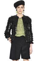 Giorgio Armani Fringed Nappa Leather Neoprene Jacket - Lyst