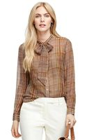 Brooks Brothers Bow-front Silk Plaid Blouse - Lyst