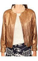 Pixie Market Copper Leather Bomber Jacket - Lyst