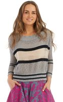 Free People Striped Open Knit Sweater - Lyst