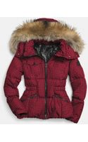 Coach Gingham Check Short Down Coat with Fur Trim - Lyst