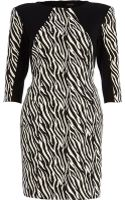 River Island Zebra Panel Cut Out Back Tailored Dress - Lyst