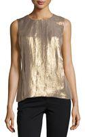 Halston Heritage Sleeveless Pleated Shimmer Top - Lyst