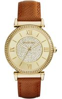 Michael Kors Womens Catlin Luggage Leather Strap Watch 38mm - Lyst