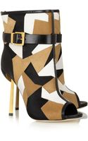 Sergio Rossi Medea Patchwork Calf Hair Ankle Boots - Lyst