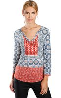 Lucky Brand Placed Scarf Print Top - Lyst